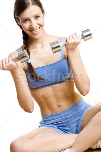 Mulher mudo ginásio saúde esportes relaxar Foto stock © phbcz
