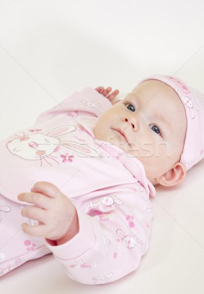 Portré fekszik kislány gyerekek gyermek biztonság Stock fotó © phbcz