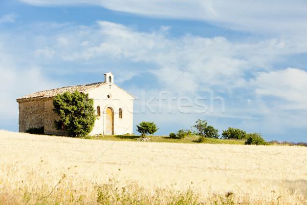 chapel with grain field, Plateau de Valensole, Provence, France Stock photo © phbcz