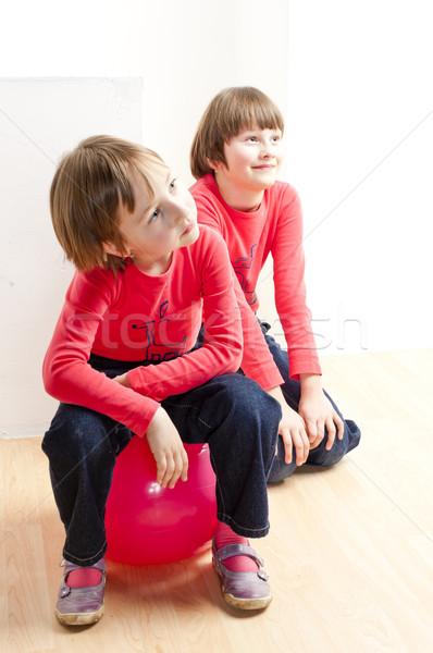 Сток-фото: два · играет · девушки · ребенка · мяча