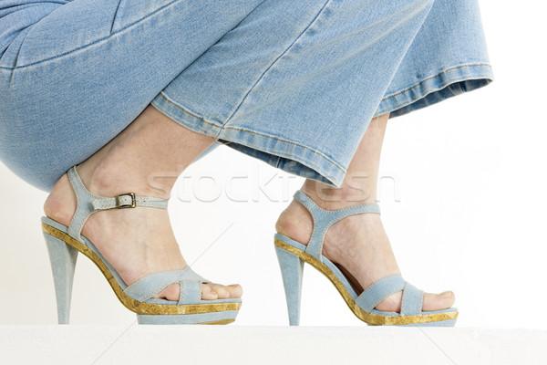 Stockfoto: Detail · vrouw · denim · zomerschoenen · vrouwen