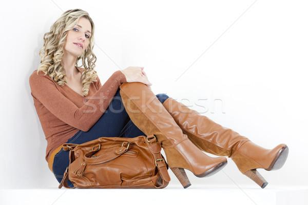 座って 女性 着用 ファッショナブル ブラウン ブーツ ストックフォト © phbcz