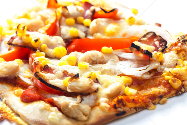 pizza with bacon, beans and corn Stock photo © phbcz