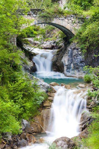 Waterval Italië brug architectuur vallen stream Stockfoto © phbcz