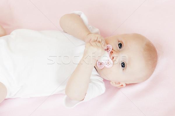 Portret trzy miesiąc starych dziewczyna Zdjęcia stock © phbcz