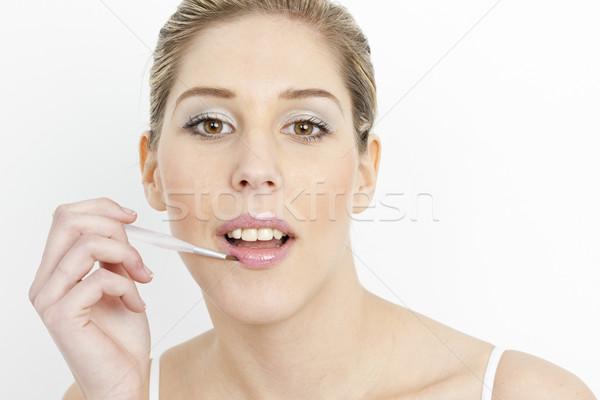 Stok fotoğraf: Portre · genç · kadın · yukarı · dudaklar · kadın