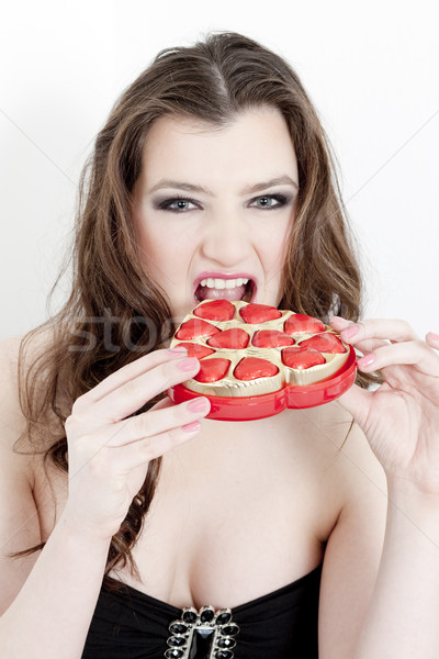Stok fotoğraf: Portre · genç · kadın · valentine · kadın · kalp · çikolata