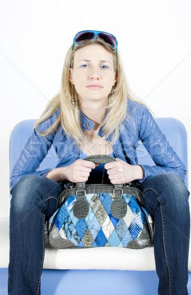 Portret vergadering vrouw handtas Blauw vrouwelijke Stockfoto © phbcz