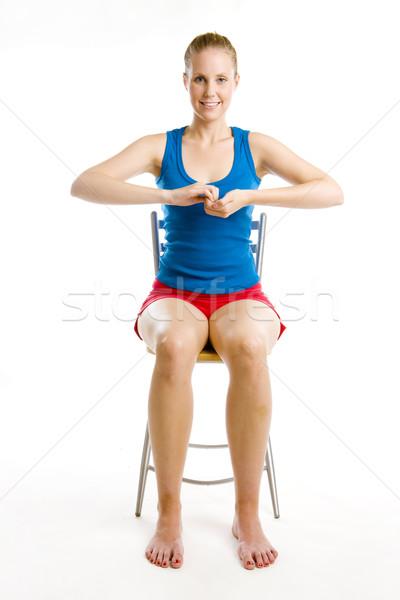 Vrouw vergadering stoel fitness sport Stockfoto © phbcz