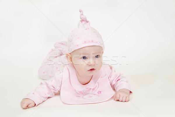 Fekszik kislány gyerekek gyermek lányok gyerek Stock fotó © phbcz