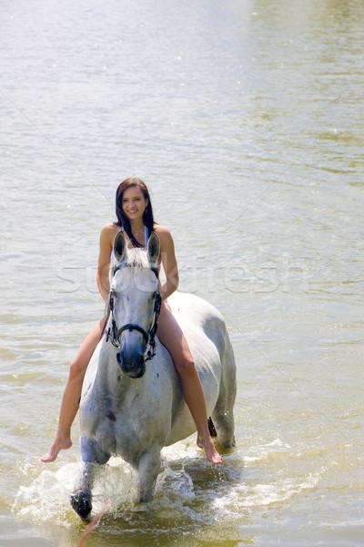верховая езда воды женщину лошади Бикини Сток-фото © phbcz