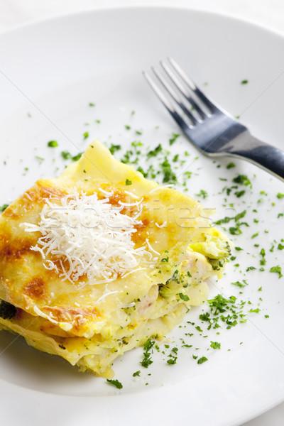 Lasaña brócoli pollo carne alimentos tenedor Foto stock © phbcz