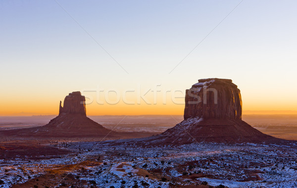 The Mitten and Merrick Butte during sunrise, Monument Valley Nat Stock photo © phbcz