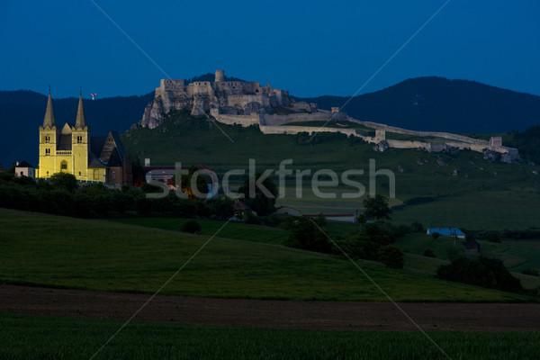 Chapter Spisska and Spissky Castle at night, Slovakia Stock photo © phbcz