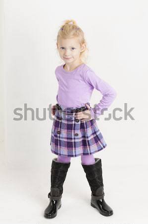 ül kislány visel szoknya lány gyermek Stock fotó © phbcz