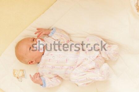 lying newborn baby girl Stock photo © phbcz