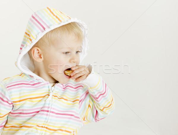 Portrait manger mandarin fille alimentaire Photo stock © phbcz