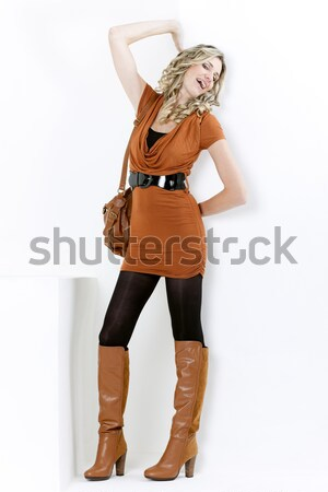 Em pé mulher látex roupa moda Foto stock © phbcz
