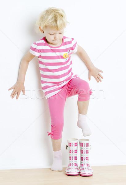 Bambina stivali di gomma ragazza ragazzi bambino kid Foto d'archivio © phbcz
