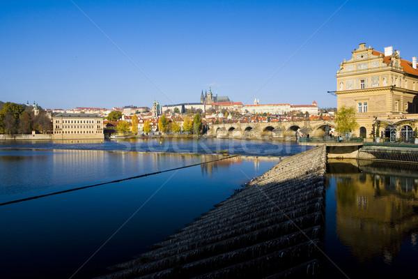 Lavka, Prague Castle with Charles bridge, Prague, Czech Republic Stock photo © phbcz