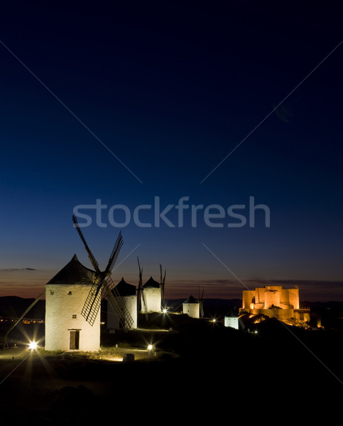 windmills with castle at night, Consuegra, Castile-La Mancha, Sp Stock photo © phbcz