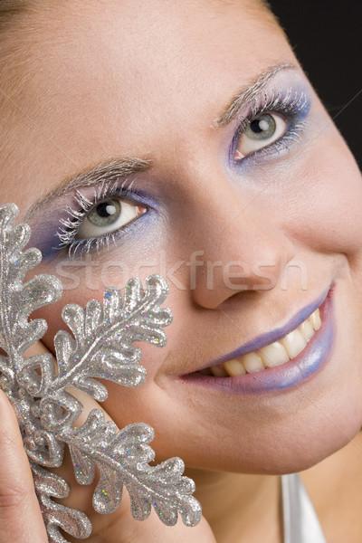 Foto d'archivio: Ritratto · donna · fiocco · di · neve · bellezza · giovani · sola