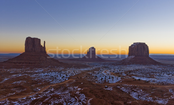 The Mittens and Merrick Butte during sunrise, Monument Valley Na Stock photo © phbcz