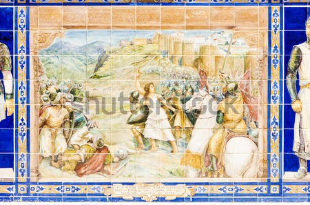 tile painting, Spanish Square (Plaza de Espana), Seville, Andalu Stock photo © phbcz