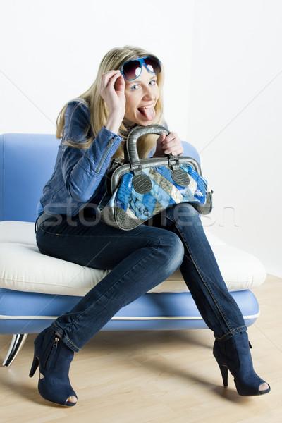 женщину синий одежды сумочка сидят Сток-фото © phbcz