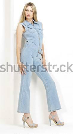 Permanente vrouw denim zomerschoenen vrouwen Stockfoto © phbcz