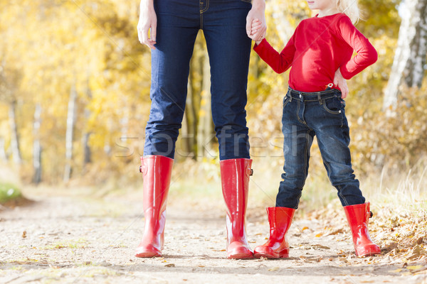 detail of mother and daughter wearing rubber boots Stock photo © phbcz