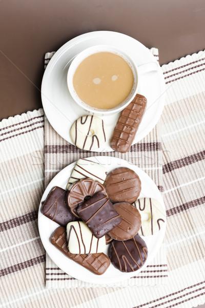 Csésze kávé kekszek desszert édes tárgy Stock fotó © phbcz