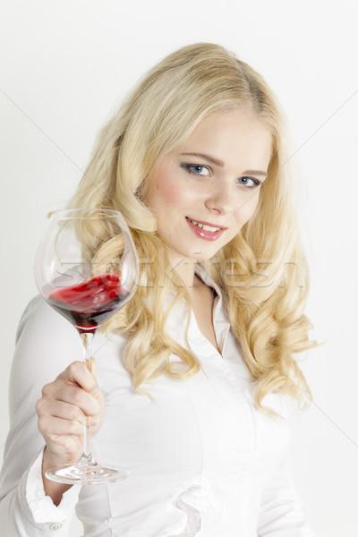 Portrait jeune femme verre vin rouge femme personne Photo stock © phbcz