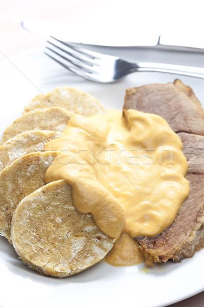 Namaak varkensvlees plaat vlees mes maaltijd Stockfoto © phbcz