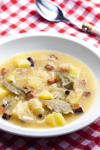 кислая капуста суп ложку еды блюдо питание Сток-фото © phbcz