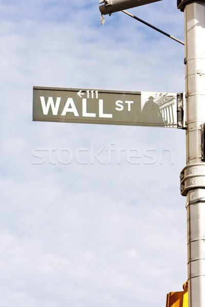 Wall street segno New York City USA città strada Foto d'archivio © phbcz