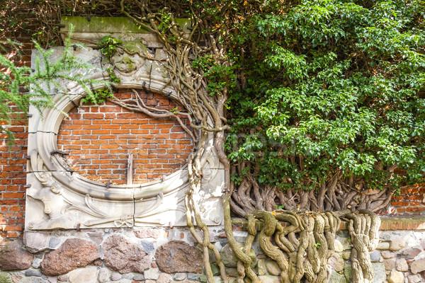 Részlet fal kastély Lengyelország építészet Európa Stock fotó © phbcz