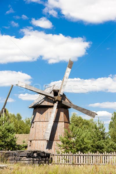 wooden windmill, Dubicze Cerkiewne, Podlaskie Voivodeship, Polan Stock photo © phbcz