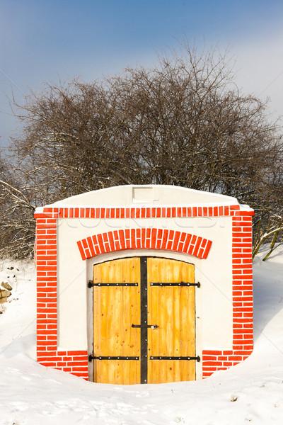 Borospince Csehország hó tél falu kint Stock fotó © phbcz