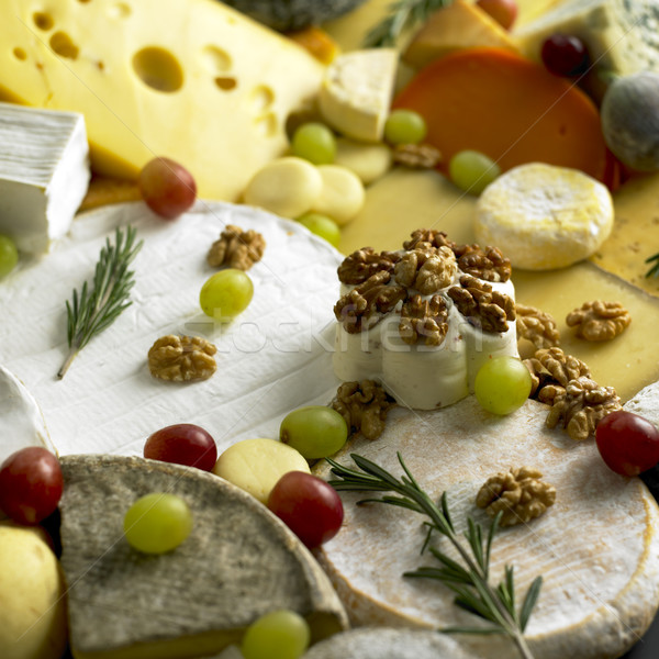 cheese still life with fruit Stock photo © phbcz