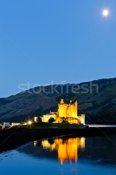 Eilean Donan Castle at night, Loch Duich, Scotland Stock photo © phbcz