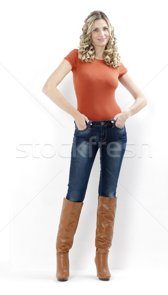 Permanente vrouw modieus bruin laarzen Stockfoto © phbcz