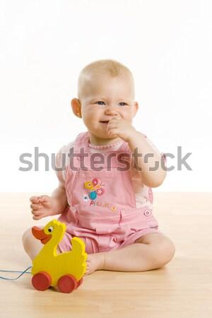 Kislány játék ül padló gyerekek gyermek Stock fotó © phbcz