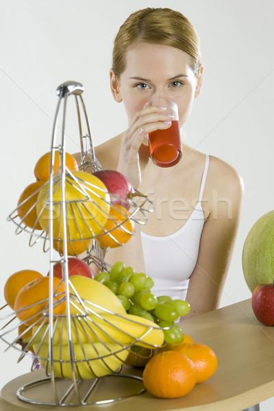 женщину завтрак фрукты стекла здоровья оранжевый Сток-фото © phbcz