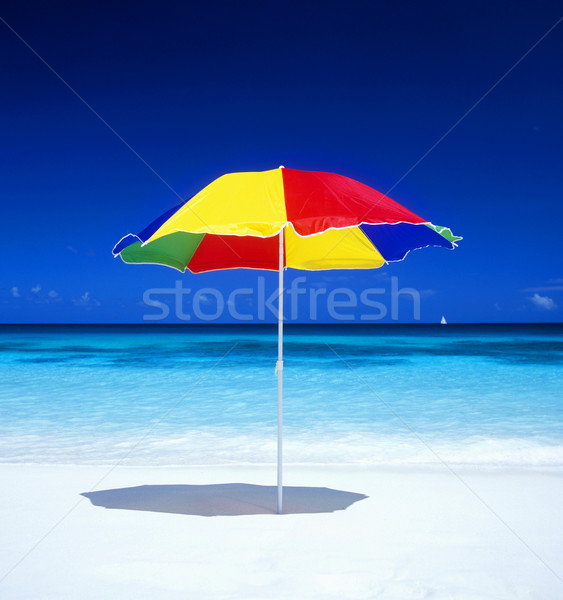 Stock photo: sunshade, Petite Anse, Mah