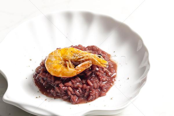 Garnaal risotto gestoomd rode wijn rijst Stockfoto © phbcz