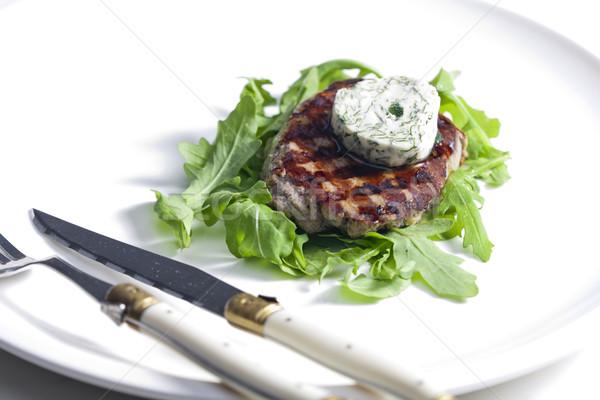 гриль бифштекс травяной масло пластина мяса Сток-фото © phbcz