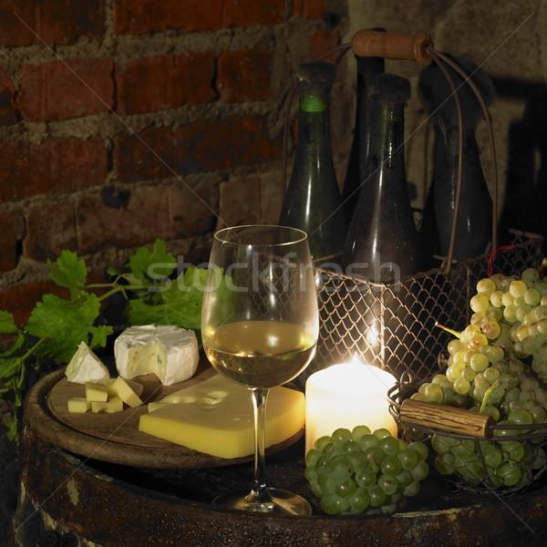 Csendélet borospince Csehország bor szemüveg sajt Stock fotó © phbcz