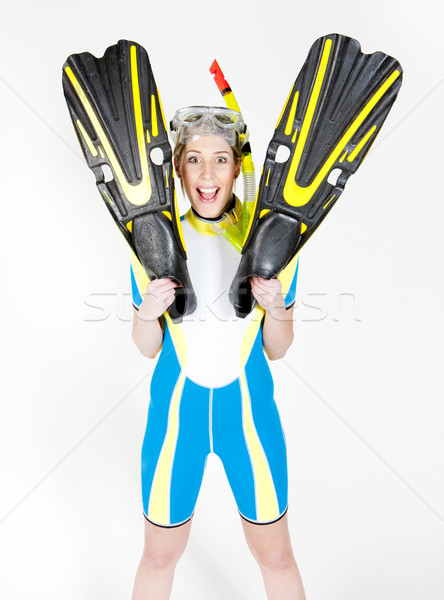 woman wearing neoprene with flippers and diving goggles Stock photo © phbcz