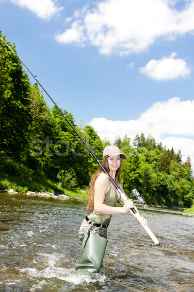 woman fishing in river, Czech Republic Stock photo © phbcz